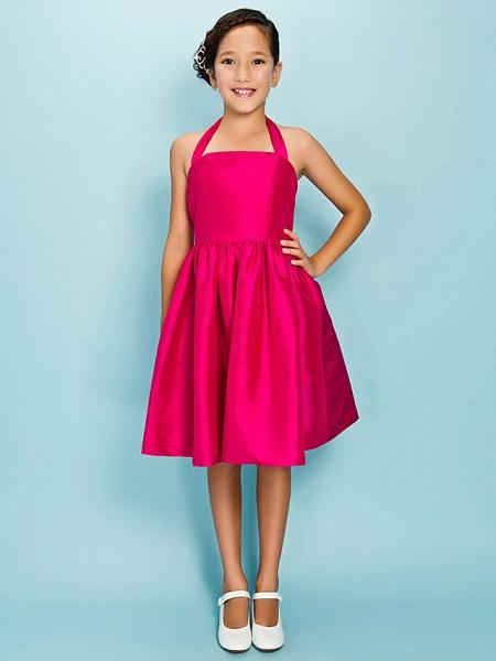 Princess / Ball Gown Halter Neck Knee Length Taffeta Junior Bridesmaid Dress With Sash / Ribbon / Draping / Crystal Brooch / Spring / Summer / Fall / Apple / Hourglass_5