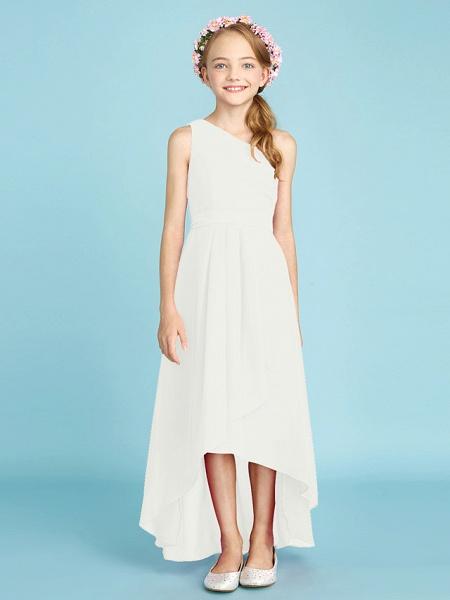 A-Line One Shoulder Asymmetrical Chiffon Junior Bridesmaid Dress With Sash / Ribbon / Bow(S) / Side Draping / Natural_23