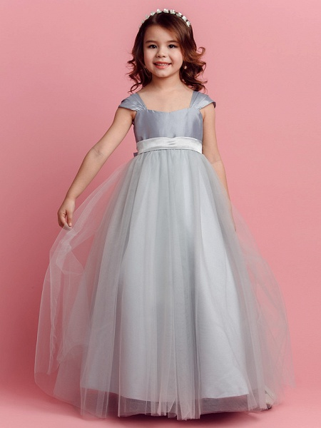 Ball Gown Floor Length Pageant Flower Girl Dresses - Taffeta / Tulle Short Sleeve Square Neck With Sash / Ribbon / Bow(S) / Spring / Summer / Fall_2