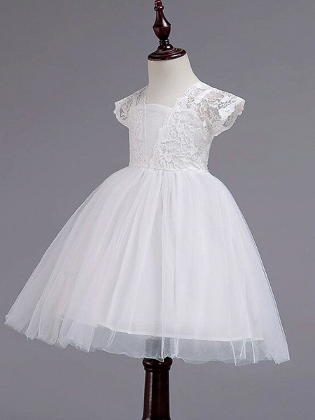 Princess Knee Length Wedding / Party / Pageant Flower Girl Dresses - Lace / Tulle / Cotton Cap Sleeve Square Neck With Lace / Belt_6