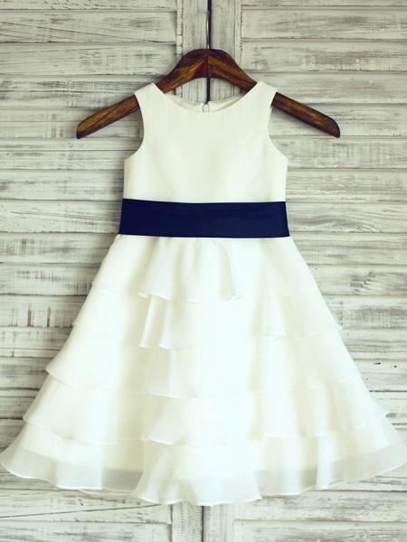 A-Line Knee Length Wedding / First Communion Flower Girl Dresses - Chiffon / Satin Sleeveless Scoop Neck With Sash / Ribbon_1