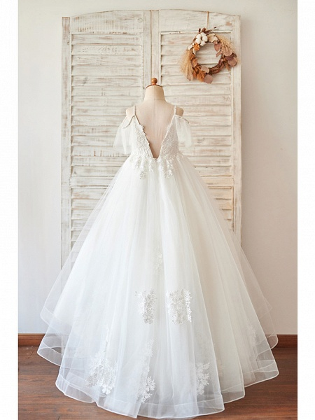 Princess / Ball Gown Floor Length Wedding / Birthday Flower Girl Dresses - Lace / Tulle Sleeveless V Neck With Bow(S) / Beading / Appliques_2