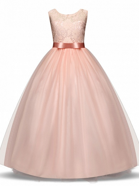Princess Long Length Wedding / First Communion Flower Girl Dresses - Lace / Tulle Sleeveless Jewel Neck With Lace / Bow(S) / Embroidery_5