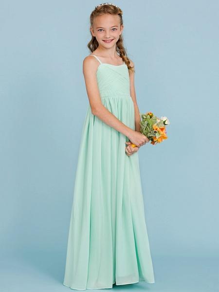 Princess / A-Line Spaghetti Strap Floor Length Chiffon Junior Bridesmaid Dress With Criss Cross / Pleats / Wedding Party / Open Back_4