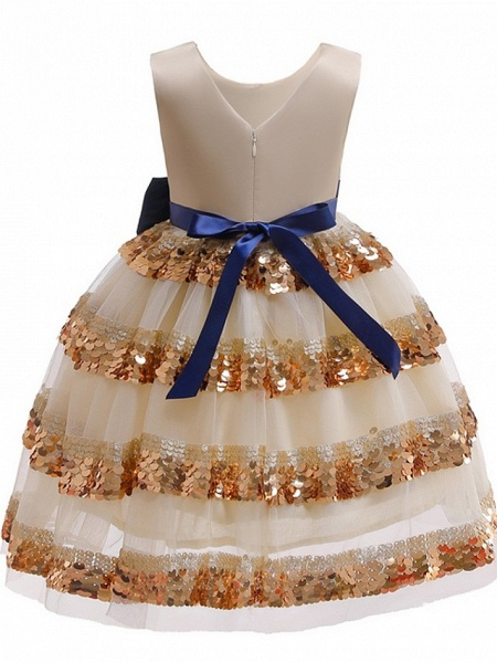 Ball Gown Knee Length Pageant Flower Girl Dresses - Polyester Sleeveless Jewel Neck With Bow(S)_5