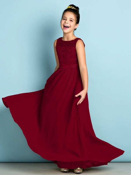 A-Line Scoop Neck Floor Length Chiffon / Lace Junior Bridesmaid Dress With Lace / Natural / Mini Me_16