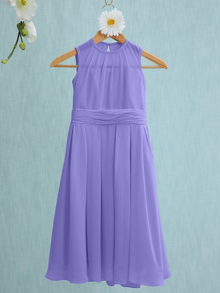 Sheath / Column Jewel Neck Knee Length Chiffon Junior Bridesmaid Dress With Ruched / Natural_36