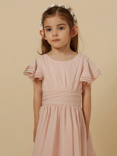 A-Line Tea Length Holiday Flower Girl Dresses - Chiffon Short Sleeve Scoop Neck With Sash / Ribbon_6
