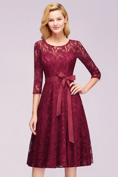 Vintage Burgundy A-line Lace Dresses with Sleeves