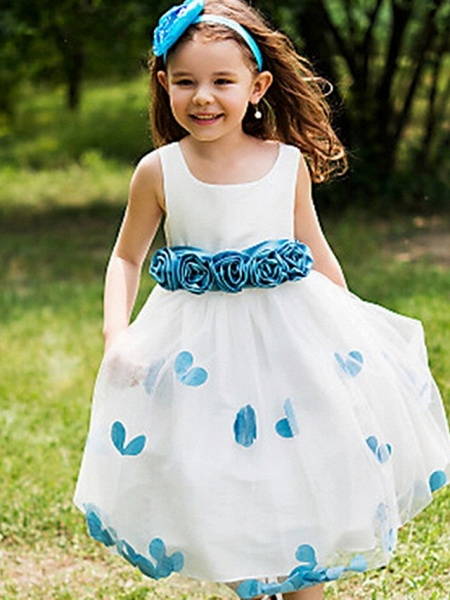 A-Line Tea Length Event / Party / Birthday Flower Girl Dresses - Poly Sleeveless Jewel Neck With Flower_1