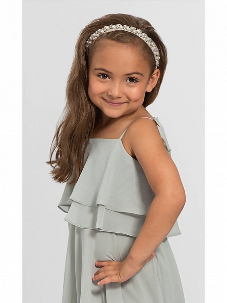 A-Line Floor Length Wedding / Party Flower Girl Dresses - Chiffon Sleeveless Spaghetti Strap With Tier / Solid_3