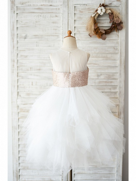 Ball Gown Knee Length Wedding / Birthday Flower Girl Dresses - Tulle / Sequined Sleeveless Jewel Neck With Tiered_2