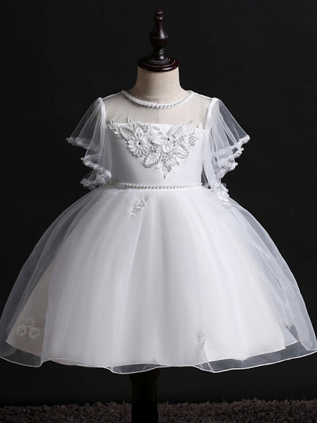 Princess Midi Wedding / Birthday Satin / Tulle Sleeveless Jewel Neck With Bow(S) / Pearls / Beading