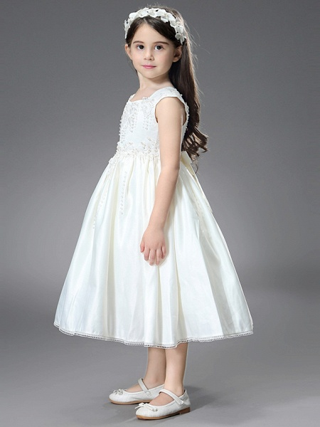 Princess / Ball Gown Ankle Length / Royal Length Train Wedding / First Communion Flower Girl Dresses - Satin Sleeveless Square Neck With Belt / Beading / Appliques_6