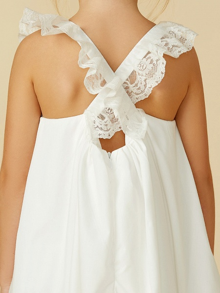 A-Line Ankle Length Wedding / First Communion Flower Girl Dresses - Lace / Cotton Sleeveless Straps With Pleats_11