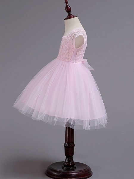 Princess Knee Length Wedding / Party / Pageant Flower Girl Dresses - Lace / Tulle / Cotton Cap Sleeve Square Neck With Lace / Belt_3