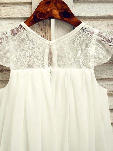 A-Line Tea Length Wedding / First Communion / Holiday Flower Girl Dresses - Lace / Satin Chiffon Sleeveless Jewel Neck With Sash / Ribbon_5