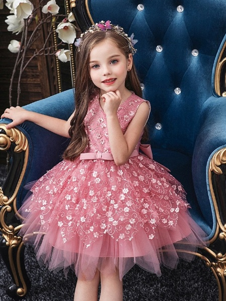 Princess / Ball Gown Mini Wedding / Party Flower Girl Dresses - Tulle Sleeveless V Neck With Sash / Ribbon / Bow(S) / Appliques_3