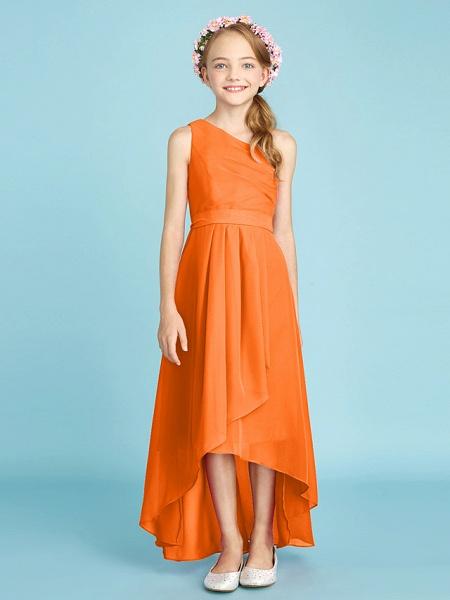 A-Line One Shoulder Asymmetrical Chiffon Junior Bridesmaid Dress With Sash / Ribbon / Bow(S) / Side Draping / Natural_19