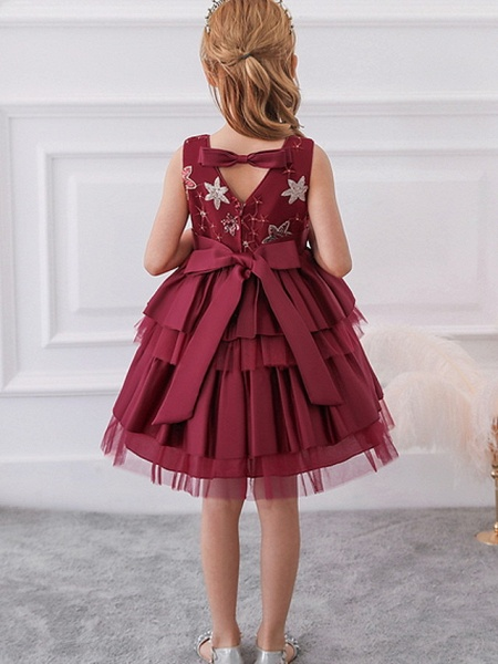 Ball Gown Knee Length Wedding / Party Flower Girl Dresses - Tulle / Mikado Sleeveless Jewel Neck With Bow(S) / Tier / Paillette_2