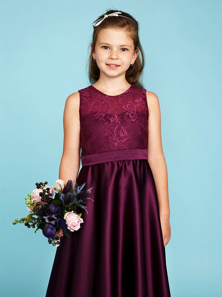 Princess / A-Line Jewel Neck Asymmetrical Lace / Satin Junior Bridesmaid Dress With Sash / Ribbon / Wedding Party / See Through_4