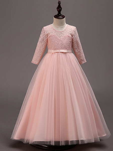 Princess Floor Length Wedding / Party / Pageant Flower Girl Dresses - Lace / Tulle / Cotton Half Sleeve Jewel Neck With Lace / Belt_6