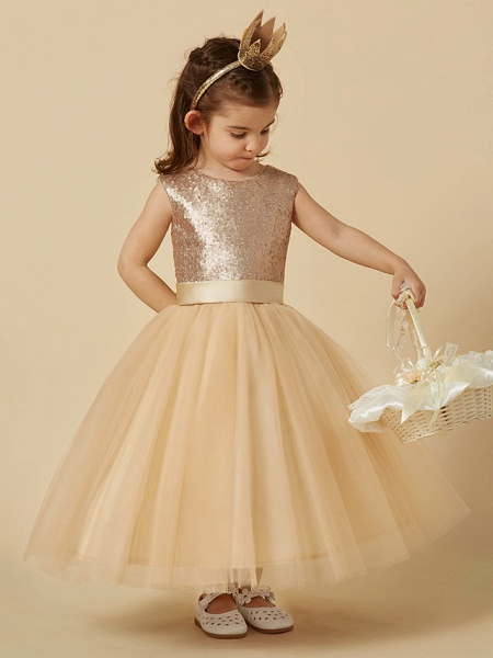 Princess Ankle Length Pageant Flower Girl Dresses - Tulle / Sequined Sleeveless Jewel Neck With Sash / Ribbon / Bow(S)_1