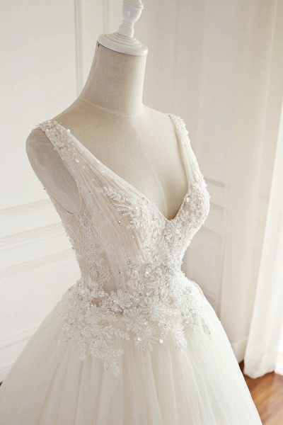 SD1964 V-neck Beads Backless Ball Gown Tulle Wedding Dress_2