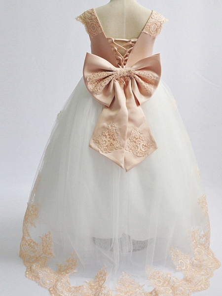 Princess Maxi Pageant Flower Girl Dresses - Polyester Sleeveless Jewel Neck With Bow(S)_4