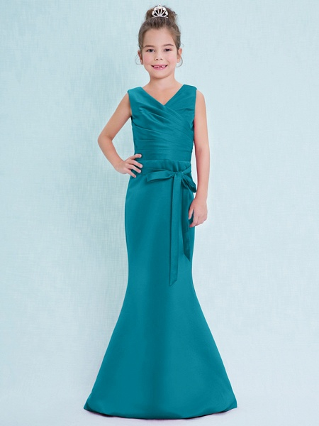 Mermaid / Trumpet V Neck Floor Length Satin Junior Bridesmaid Dress With Criss Cross / Natural_28