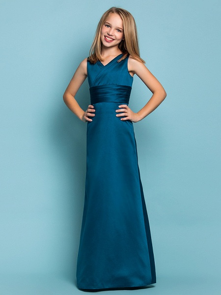 Sheath / Column V Neck Floor Length Satin Junior Bridesmaid Dress With Sash / Ribbon / Criss Cross / Ruched / Spring / Summer / Fall / Apple / Hourglass_3