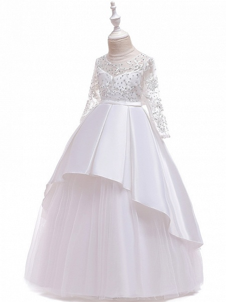 Ball Gown / A-Line Maxi Wedding / Formal Evening / Pageant Flower Girl Dresses - Cotton Blend / Lace 3/4 Length Sleeve Jewel Neck With Lace / Sash / Ribbon / Pleats_13