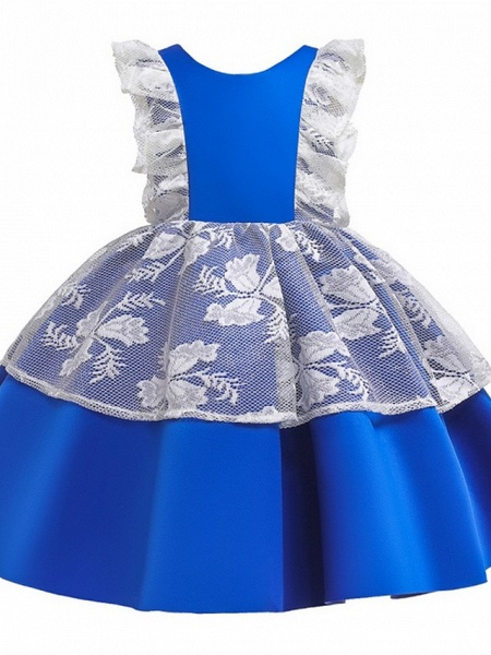 Princess / Ball Gown Knee Length Wedding / Party Flower Girl Dresses - Satin / Tulle Cap Sleeve Jewel Neck With Bow(S) / Color Block_5