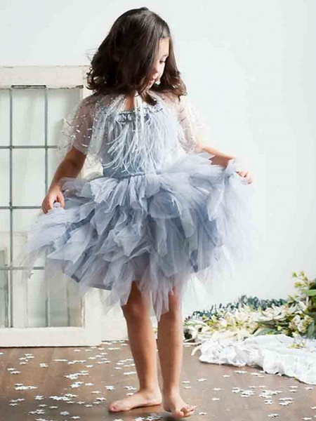 Ball Gown Asymmetrical Event / Party / Birthday Flower Girl Dresses - Poly Sleeveless Spaghetti Strap With Beading / Paillette_2