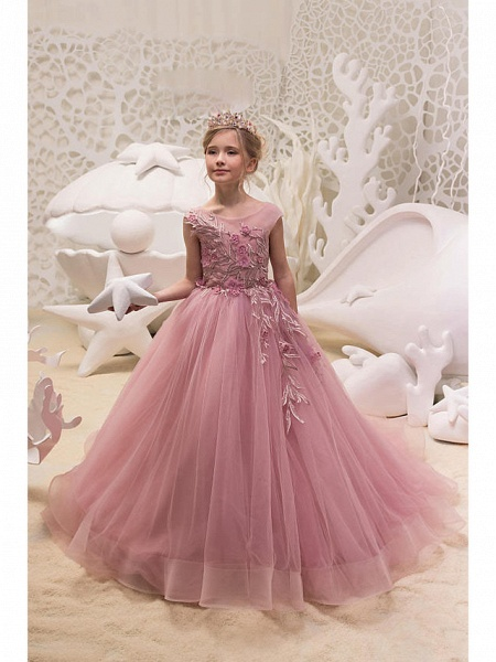 Princess / Ball Gown Sweep / Brush Train Wedding / Party Flower Girl Dresses - Tulle Cap Sleeve Jewel Neck With Appliques_1