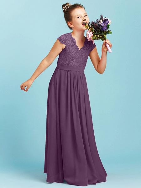 Princess / A-Line V Neck Floor Length Chiffon / Lace Junior Bridesmaid Dress With Sash / Ribbon / Pleats / Wedding Party_30