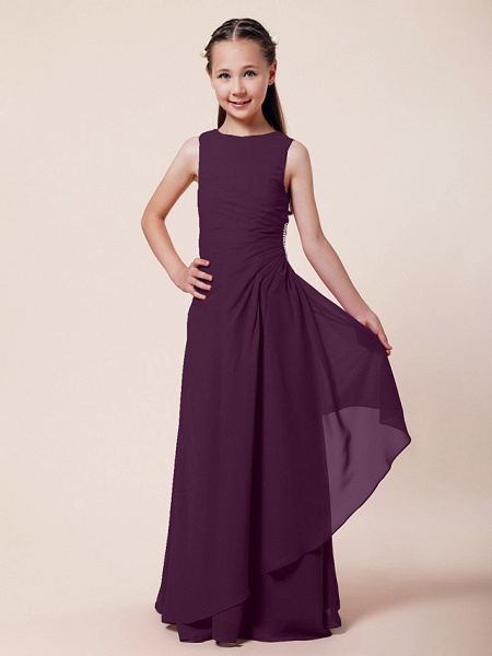 A-Line / Sheath / Column Bateau Neck Floor Length Chiffon Junior Bridesmaid Dress With Beading / Side Draping / Spring / Summer / Fall / Winter / Wedding Party_13