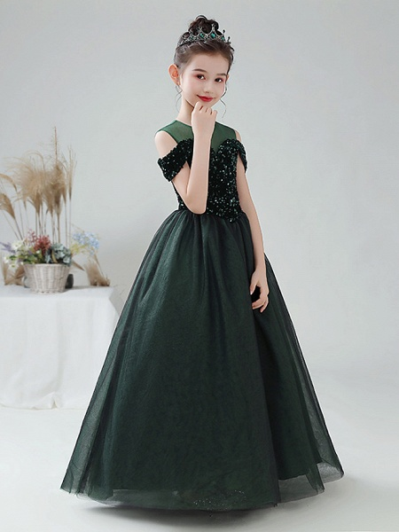 Ball Gown Floor Length Party / Birthday Hanfu / Flower Girl Dresses - Tulle / Sequined Sleeveless Off Shoulder / Jewel Neck With Paillette_4