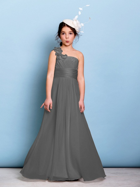 A-Line One Shoulder Floor Length Chiffon Junior Bridesmaid Dress With Sash / Ribbon / Criss Cross / Ruched / Natural_24