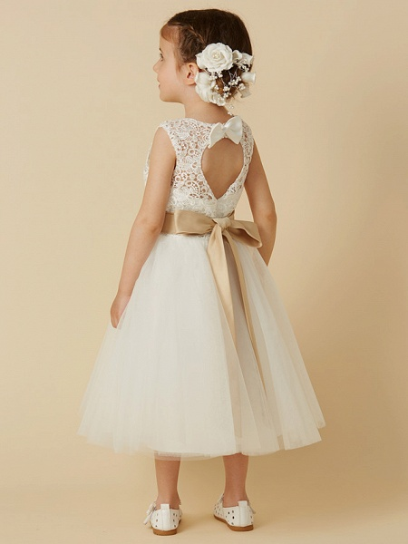 Princess Knee Length Wedding / First Communion Flower Girl Dresses - Lace / Tulle Sleeveless Jewel Neck With Sash / Ribbon / Bow(S)_2