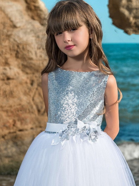 Ball Gown Floor Length Wedding / Party Flower Girl Dresses - Polyester Sleeveless Jewel Neck With Sash / Ribbon / Bow(S) / Paillette_3
