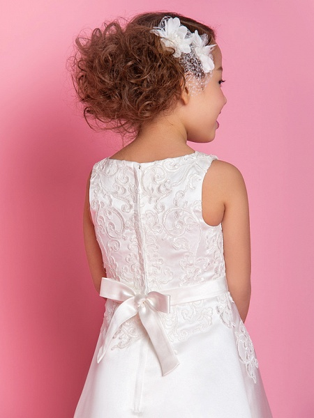 A-Line Tea Length Wedding / First Communion Flower Girl Dresses - Satin Sleeveless Scoop Neck With Bow(S) / Appliques / Spring / Summer / Fall / Winter_5