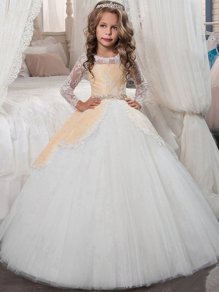 Princess Floor Length Christmas / Birthday / First Communion Flower Girl Dresses - Chiffon / Lace / Tulle Long Sleeve Jewel Neck With Lace / Crystals / Rhinestones_3