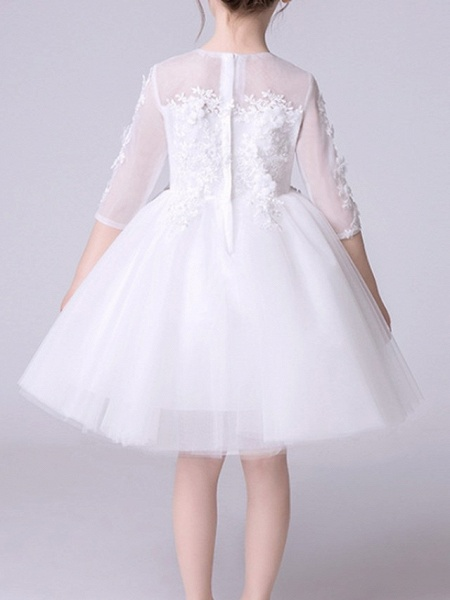 Princess Knee Length First Communion Flower Girl Dresses - Polyester Half Sleeve Jewel Neck With Appliques_5