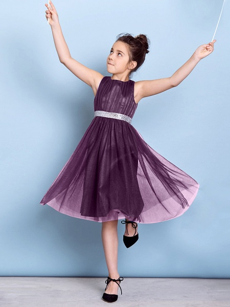 A-Line Jewel Neck Knee Length Tulle Junior Bridesmaid Dress With Sash / Ribbon / Sequin / Draping / Natural_25
