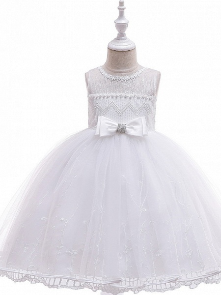 Ball Gown Floor Length Wedding / Party Flower Girl Dresses - Lace / Tulle Sleeveless Jewel Neck With Bow(S) / Embroidery_2