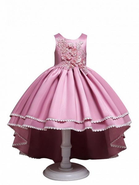 Princess Asymmetrical Wedding / Party / Pageant Flower Girl Dresses - Satin / Tulle Sleeveless Jewel Neck With Lace / Belt / Appliques_5