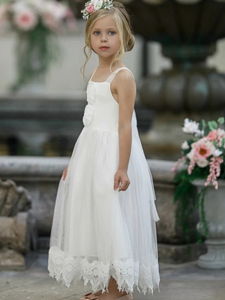 Princess / A-Line Knee Length Wedding / Party Flower Girl Dresses - Lace Sleeveless Jewel Neck With Tier / Solid_2