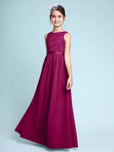 Sheath / Column Bateau Neck Floor Length Chiffon / Lace Junior Bridesmaid Dress With Lace / Natural_41