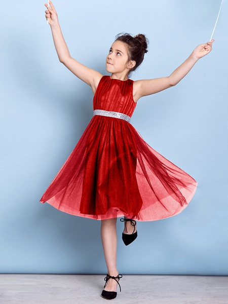 A-Line Jewel Neck Knee Length Tulle Junior Bridesmaid Dress With Sash / Ribbon / Sequin / Draping / Natural_22